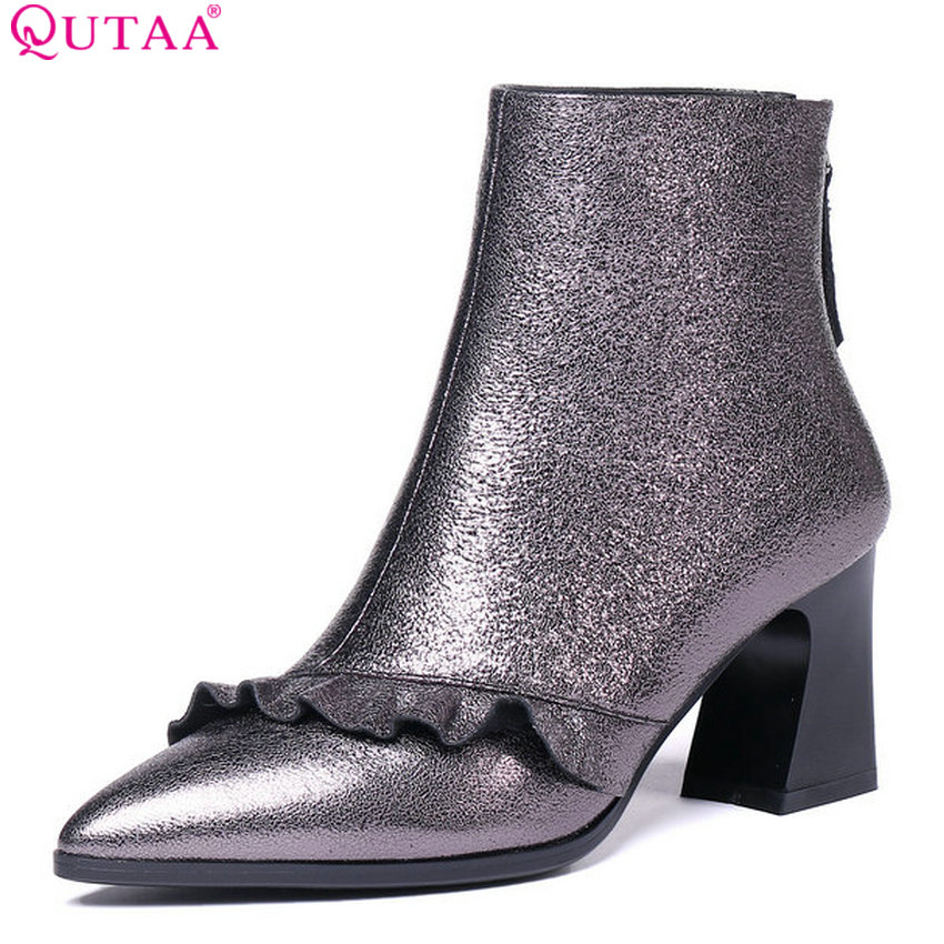 цены QUTAA 2019 New Arrive Fashion Women Ankle Boots Zipper Winter Shoes Platform Square High Heel Women Boots Big Size 34-42
