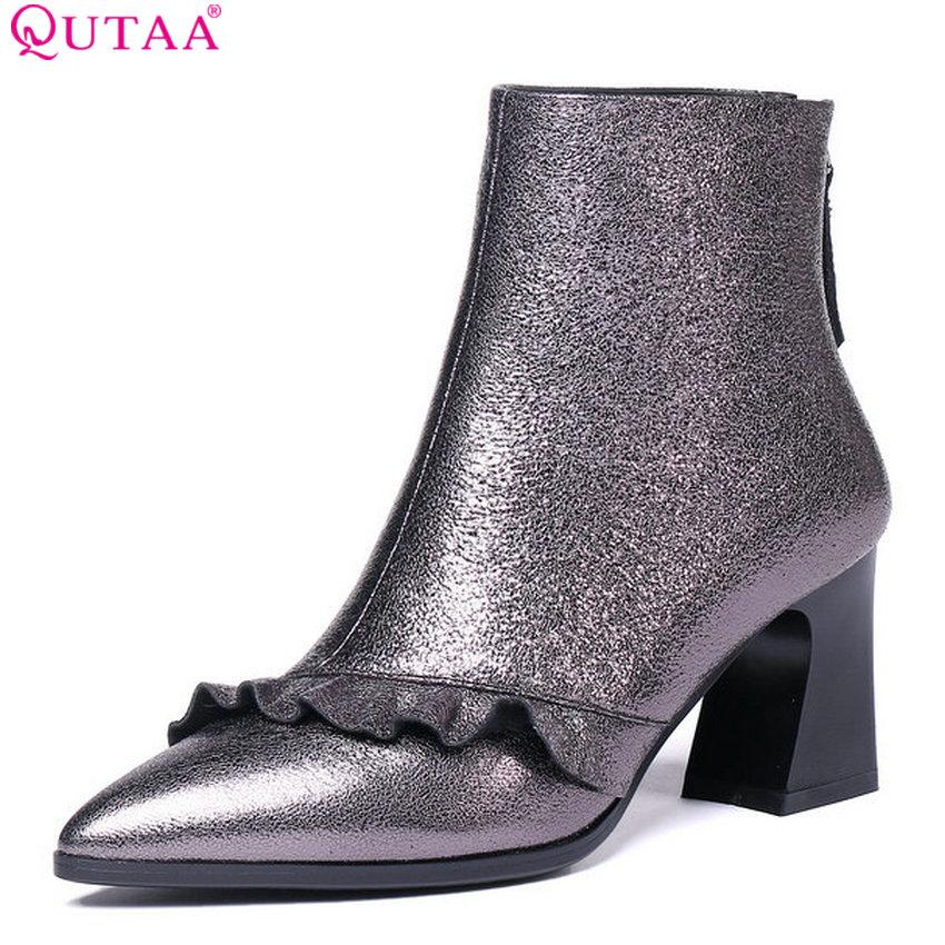 цены QUTAA 2019 New Arrive Fashion Women Ankle Boots Zipper Winter Shoes Platform Square High Heel Women Boots Big Size 34-42