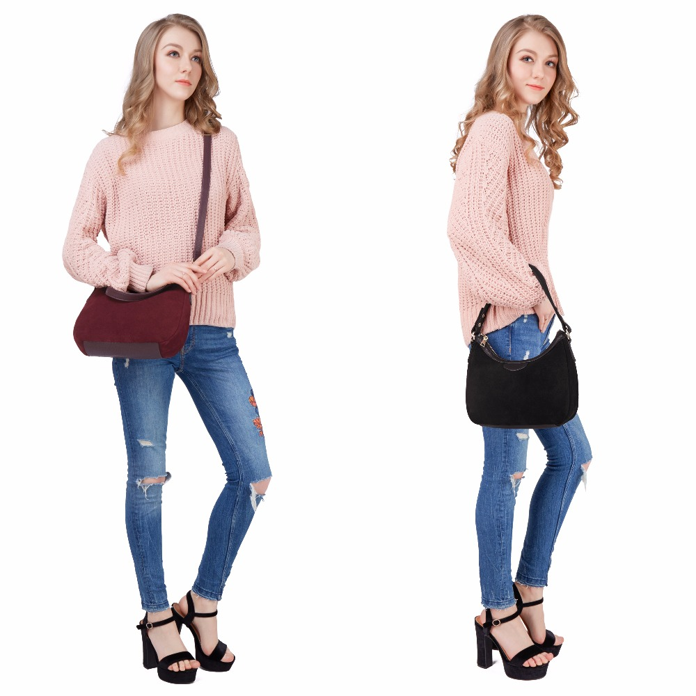 Image 3 - 2018 New Women Real Suede Leather Small Shoulder Bag Brand Female Leisure Cossbody Hobo Handbag For Lady Blosa Top handle Bags-in Top-Handle Bags from Luggage & Bags