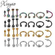 XINYAO 2017 16pcs/lot Surgical Steel Nose Rings Body Piercing For Women Punk Earring Stud Hoops Nariz Percing Nez Piercing(China)