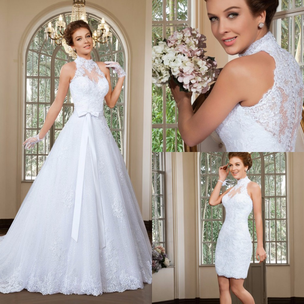 fashion high collar alencon lace beaded mini wedding gown with detachable watteau train bows waist button of back