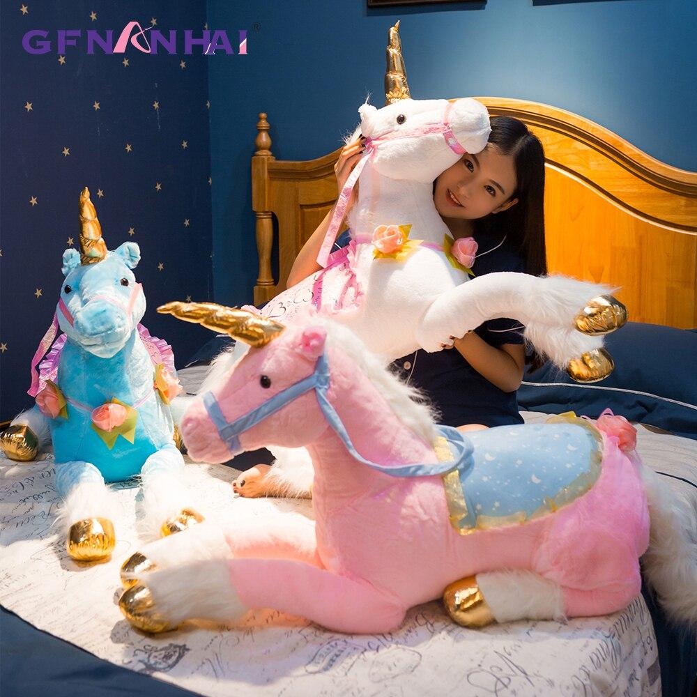 1 pc 100 cm Énorme taille Mignon Licorne Cheval En Peluche Jouet En Peluche Coloré Poupée Animaux pour les Enfants Enfants Creative D'anniversaire cadeau pour les Filles