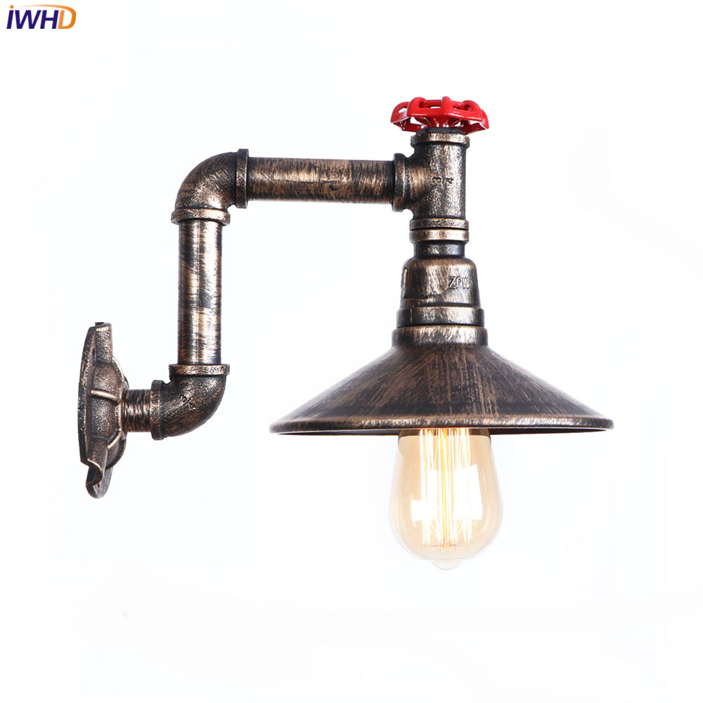 IWHD Retro Wandlamp Vintage Loft Style LED Wall Lamp Iron Water Pipe Fixtures Home Bathroom Light Simple RH Bedside Living Room