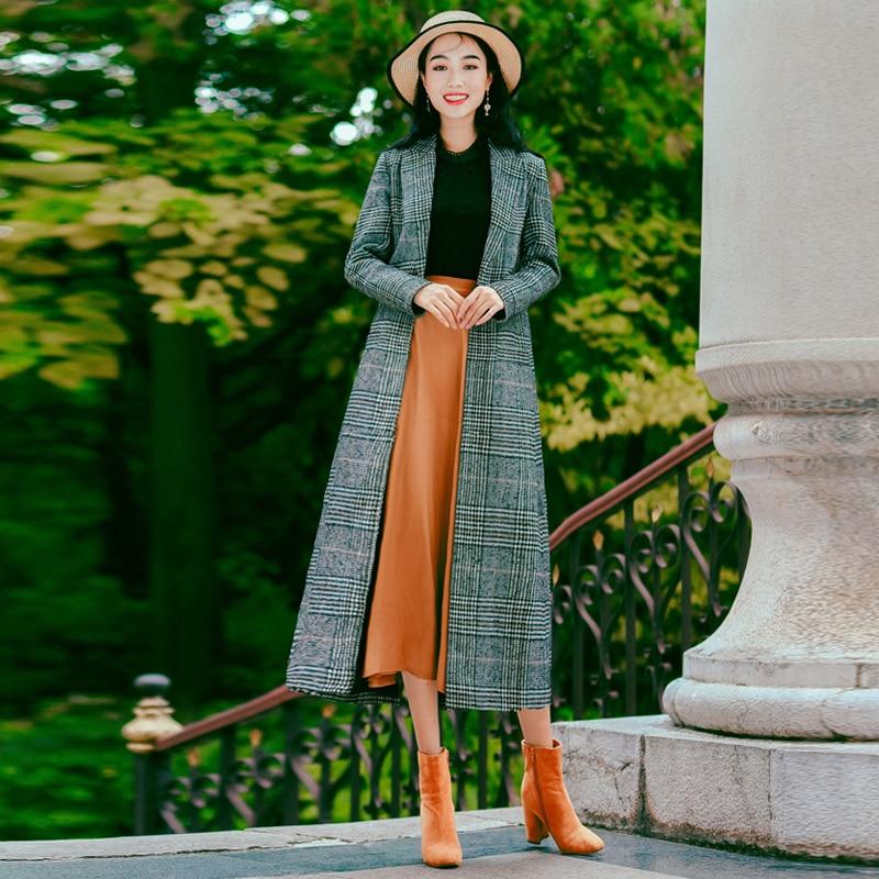 Collar Longues Outwear Large Turn Vêtements Costume down Laine Printemps Femmes Plaid Gris taille Manteaux Femelle En Manteau Pour 2019 SxR4wzq
