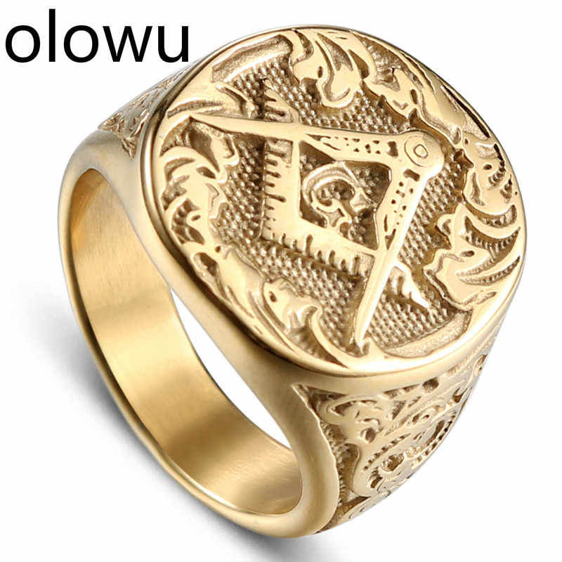 olowu Fashion Jewelry Men Vintage Charm Mason Freemason Masonic Rings Punk Stainless Steel Gold Color Ring For Mens Jewelry