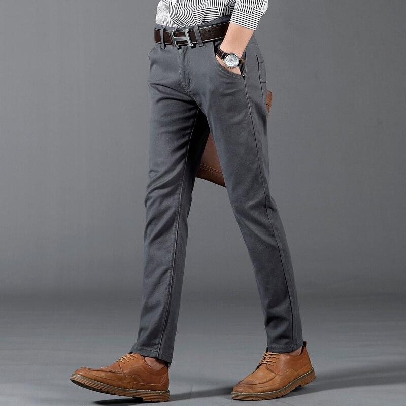 Image 4 - 6 цветов, повседневные мужские брюки, весна 2019, новинка, бизнес стиль, модные, повседневные эластичные прямые брюки, мужские, брендовые, серые, белые, хаки, темно синие-in Повседневные брюки from Мужская одежда