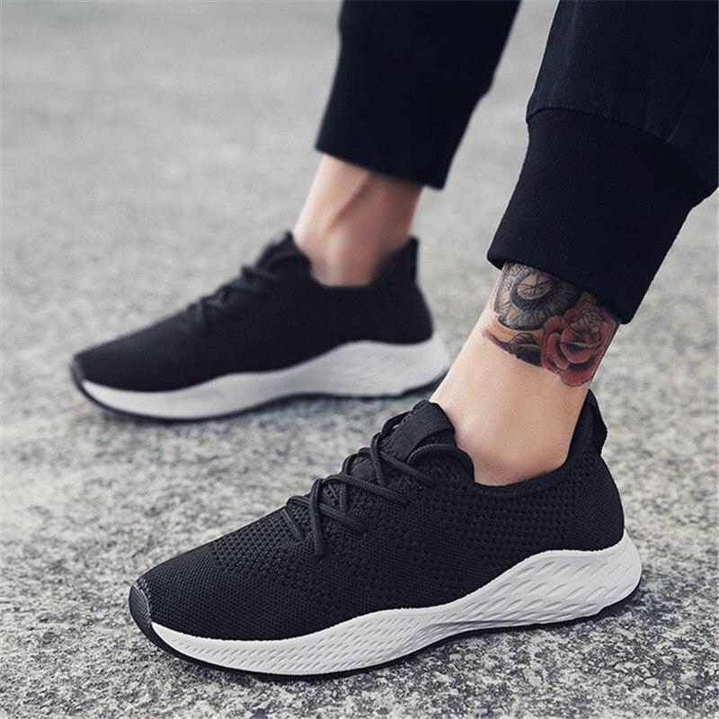 Мужская повседневная обувь брендовые рабочие Уличная обувь, кроссовки на плоской подошве сетчатые слипоны Лоферы Fly Knit мужской спортивная ...