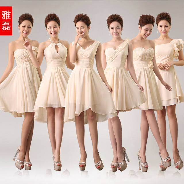 0991 Champagne 6 Styles Short Pleated Zipper Bridesmaid