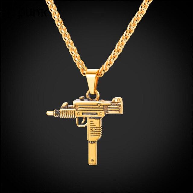 Hip hop Uzi Gun Pendant Necklace for Men Black Stainless Steel Gold Color 22inch Link Chain AK 47 M16 Gun Necklace