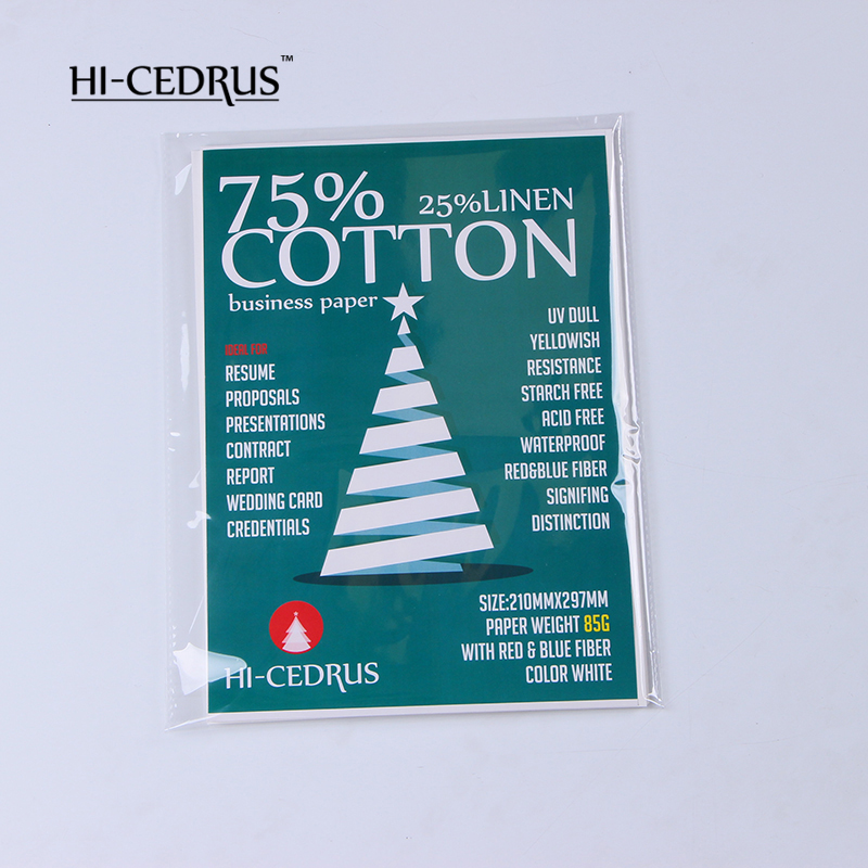 85gsm,75% Cotton 25% Linen Paper,210*279mm A4 Size,Waterproof,starch-free,red&blue Fiber,cream Color,100 Sheets