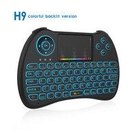 10 cái/lốc Đèn Nền Đầy Màu Sắc Không Khí Chuột Không Dây Mini Keyboard H9 Điều Khiển Từ Xa cho Android TV Box IPTV Xbox PS3 Gamepad