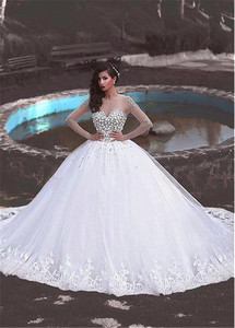 Image 2 - Junoesque Tulle Jewel Neckline Ball Gown Wedding Dress With Lace Appliques & Beadings Long Sleeves Crystals Bridal Gowns
