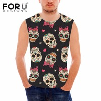FORUDESIGNS Men S Summer Sleeveless Fitness Tank Top Punk Skulls Printed Breathable Vests For Man Workout