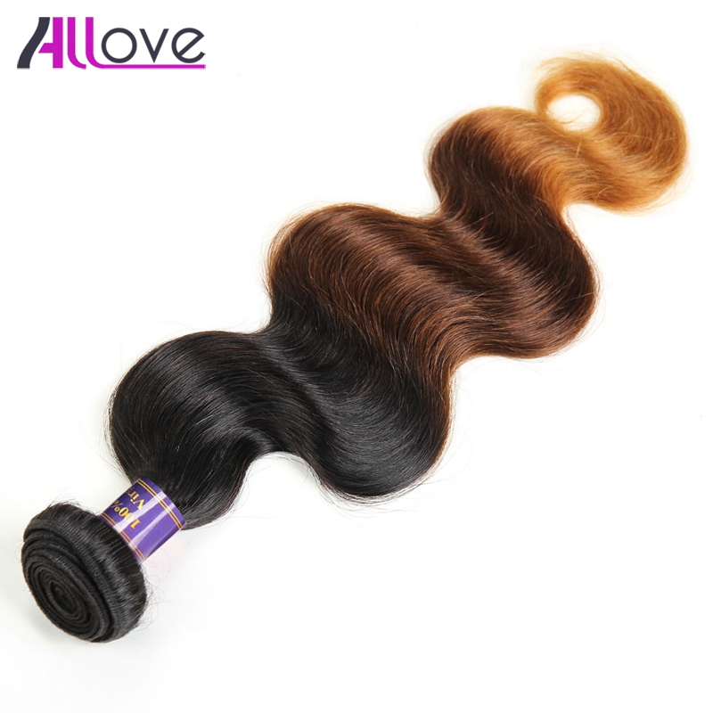 Allove 3 Tone Ombre Peruvian Hair Body Wave T1B/4/30 Human Hair Weave Bundles 10 28Can Buy 3 or 4 Bundles Remy Hair Extensions