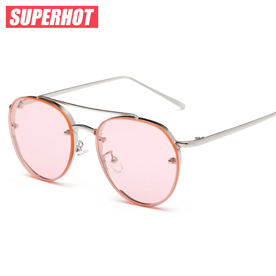 SUPERHOT Neueste steam punk sonnenbrille frauen metallrahmen gelbe ozean sonnenbrille damen sommer design flalt rosa linsen