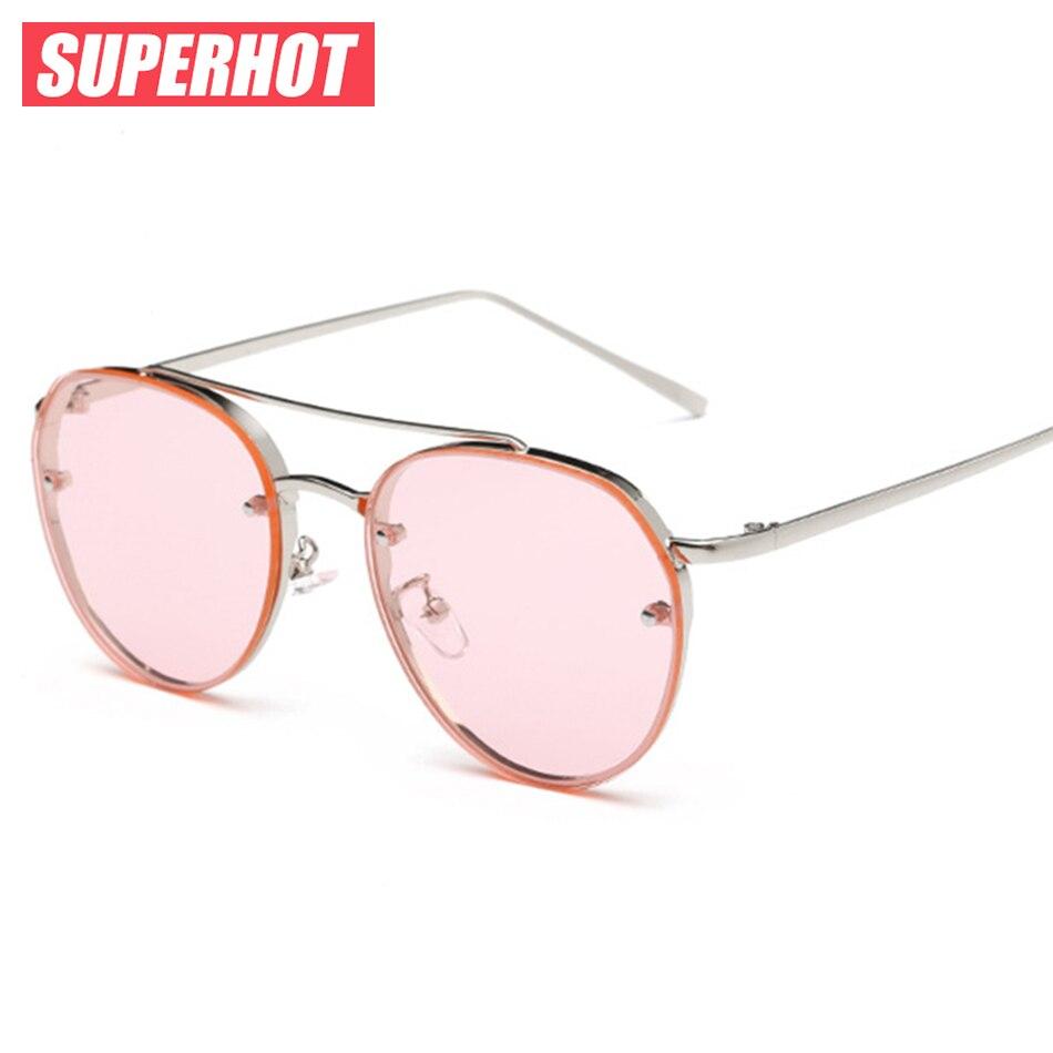 SUPERHOT Più Nuovo steam punk occhiali da sole donne Metal frame giallo oceano occhiali da sole estate delle signore di disegno flalt lenti rosa