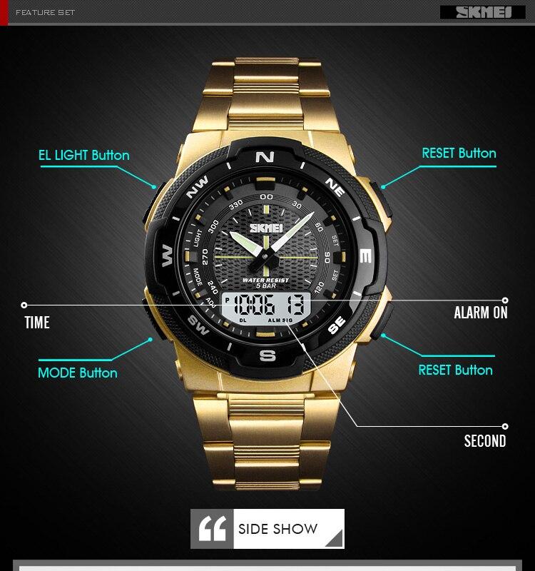 SKMEI 1370 Stainless Steel Waterproof Wrist Watch 7