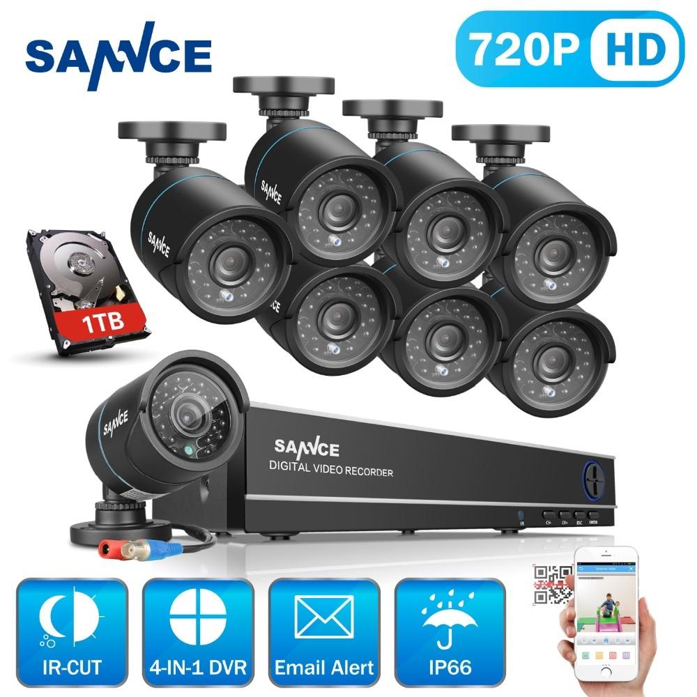 SANNCE HD 8CH 720 P CCTV Système de Sécurité 8 PCS 1250TVL AHD 720 P Vidéo Surveillance Caméras de Sécurité DVR Kit 1 TB HDD