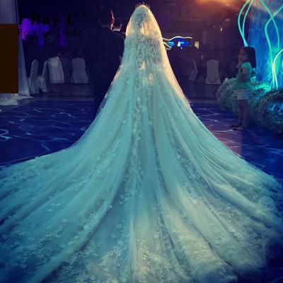 I Bay U Fluffy Satin Pearl Beaded Appliques Wedding Gown Robe De ... c410c640b