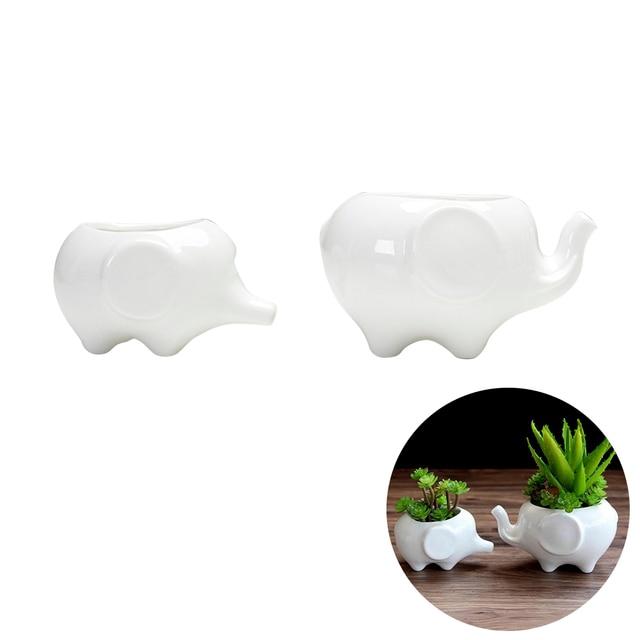 2pcs Cute Elephant Flower Pot Modern White Ceramic Succulent Planter Pots Tiny Plant Containers