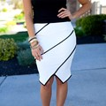 Moda 2016 de Las Mujeres OL Suave Falda de Cintura Alta de La Cadera Delgada Lápiz faldas de La Vendimia Bodycon Midi Falda Sexy Clubwear negro y blanco XL
