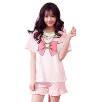 Japanese Anime Cosplay Women Sleep Wear Summer Kawaii Cartoon Pajamas Set Pink Cute Strawberry Short Sleeve HomeWear Two Piece