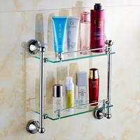 dual tier antique glass bathroom shelf