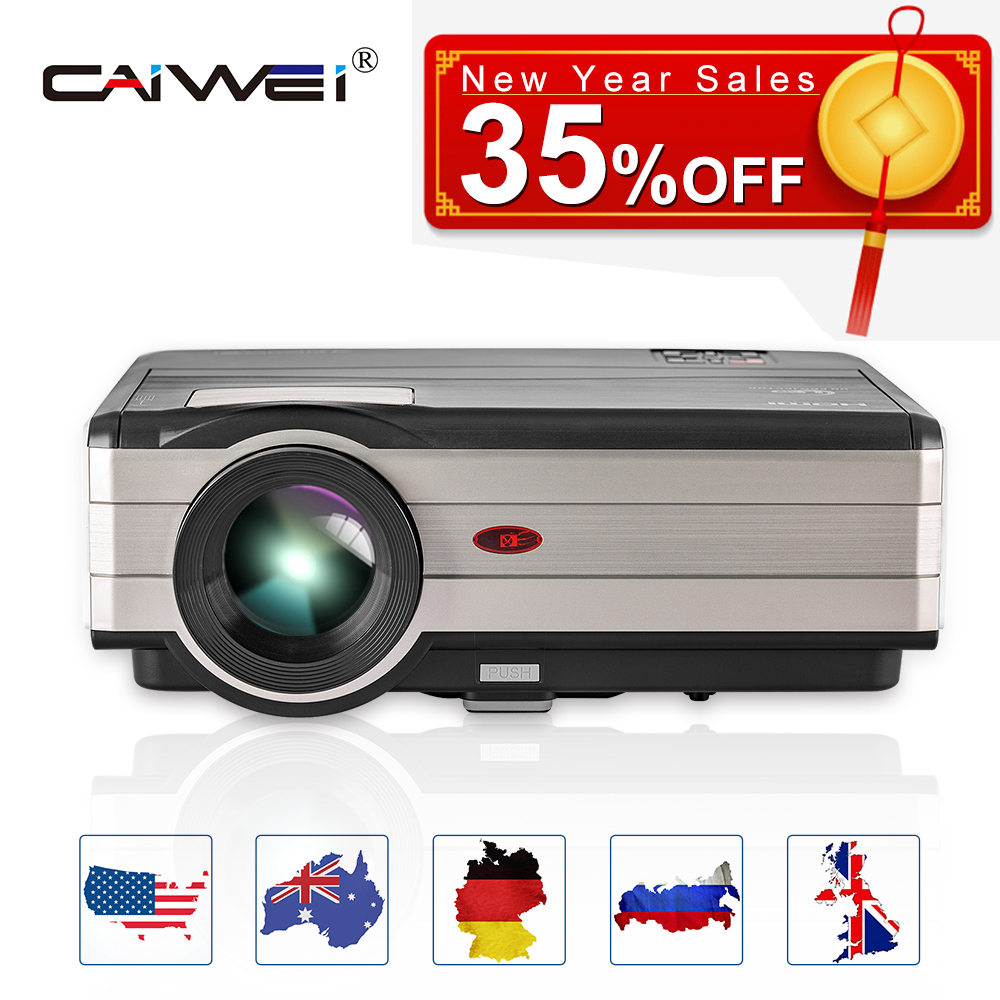 CAIWEI LCD LED Projector Home Cinema Full HD Video Beamer Wired Sync Projectors USB HDMI VGA For Smartphone Laptop PC