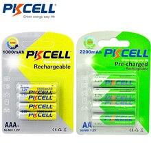 1 חבילה/4Pcs PKCELL 1.2V AA נטענת סוללה Ni MH 2200mAh עם 1 חבילה/4Pcs 1.2V NIMH AAA נטענת סוללות 1000mAh