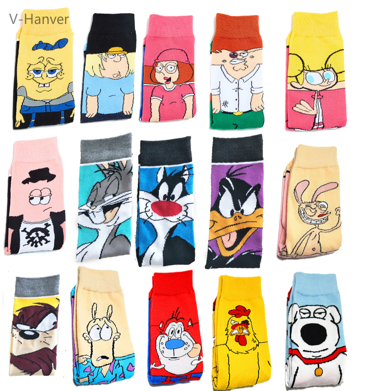 V-Hanver Funny Anime Socks Fashion Cartoon Happy Men Women Sock Novelty High Quality Pattern Cotton Crew Skarpety Long Hosiery