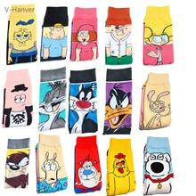 V-Hanver Funny Anime Socks Fashion Cartoon Happy Men Women Sock Novelty High Quality Pattern Cotton Crew Skarpety Long Hosiery