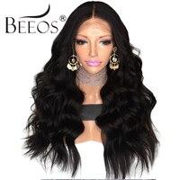 Beeos 250% Синтетические волосы на кружеве Человеческие волосы Искусственные парики отбеленные узлы с ребенком волос 12-24 дюймов длинные волнис...