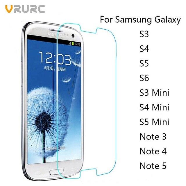Vrurc Tempered Glass for Samsung Galaxy S3 S4 S5 S6 S3 mini S 4mini S5 mini Note 2 3 4 5 Screen Protector front glass film