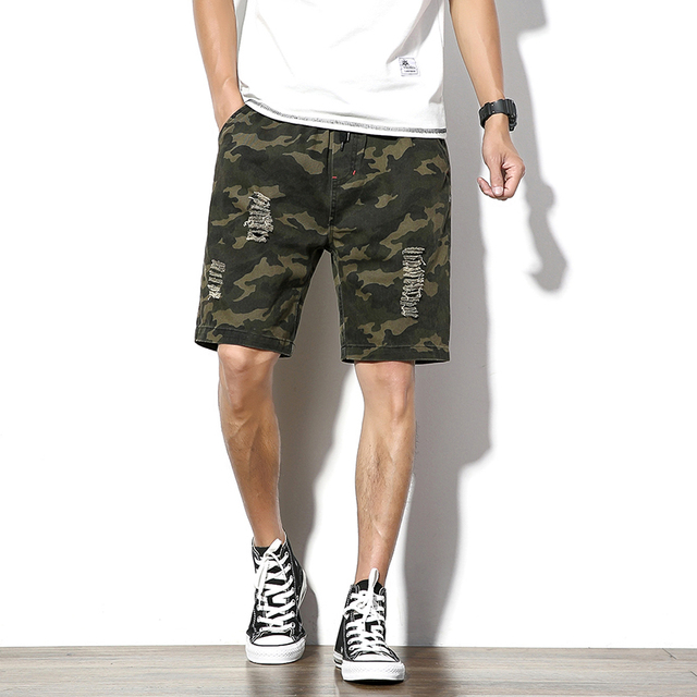 8788d0318e Camouflage Ripped Mens Shorts Loose Summer Army Green Cargo Short Men Knee  Length Drawstring Bermuda Casual Straight Male Shorts