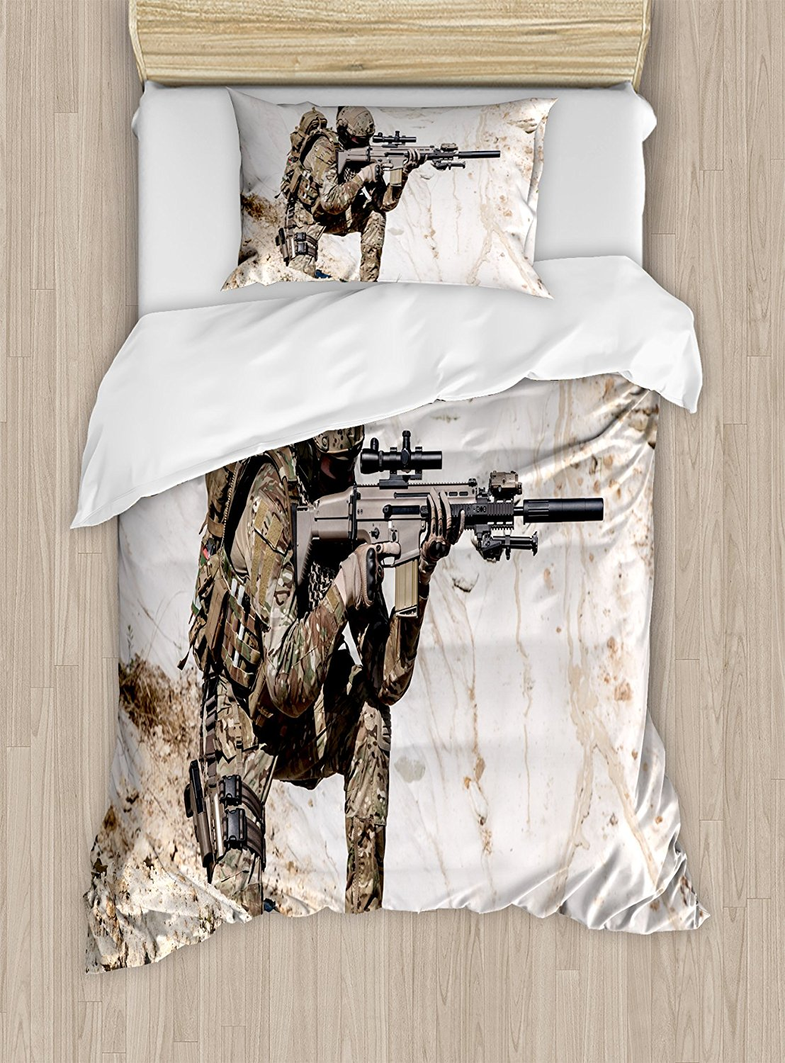 Army Duvet Cover Set United States Ranger On The Mountain Targeting With Gun Camouflage War Theme Picture 4 Piece Bedding In Sets From Home