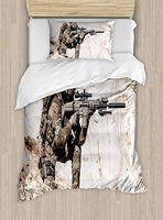 Army Duvet Cover Set United States Ranger On The Mountain Targeting With Gun Camouflage War Theme