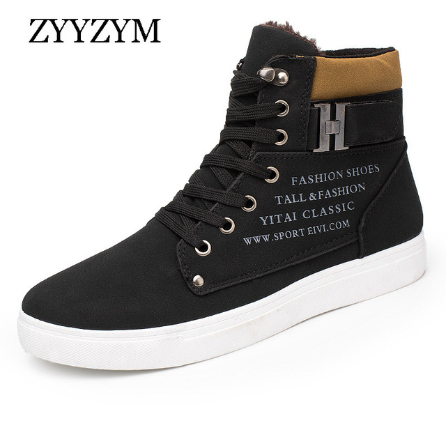 ZYYZYM Mens Winter Boots Help Style Classic Plush Keep Warm Men Casual Shoes Man Snow Boots