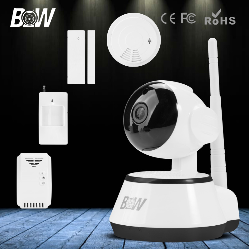 With Infrared Motion & Door Sensor and Smoke & Gas Detector P/T Wireless Wifi Mini HD CCTV Security Camera IP 720P Surveillance video surveillance security camera wireless door sensor infrared motion sensor gas detector monitor ir led wifi ip camera bw13b