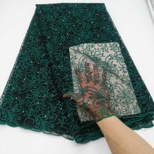 Dark Green African Lace Fabric 2019 Embroidery Nigerian Beads Lace Fabric.High Quality Stones French Tulle Lace Fabric For Women(China)