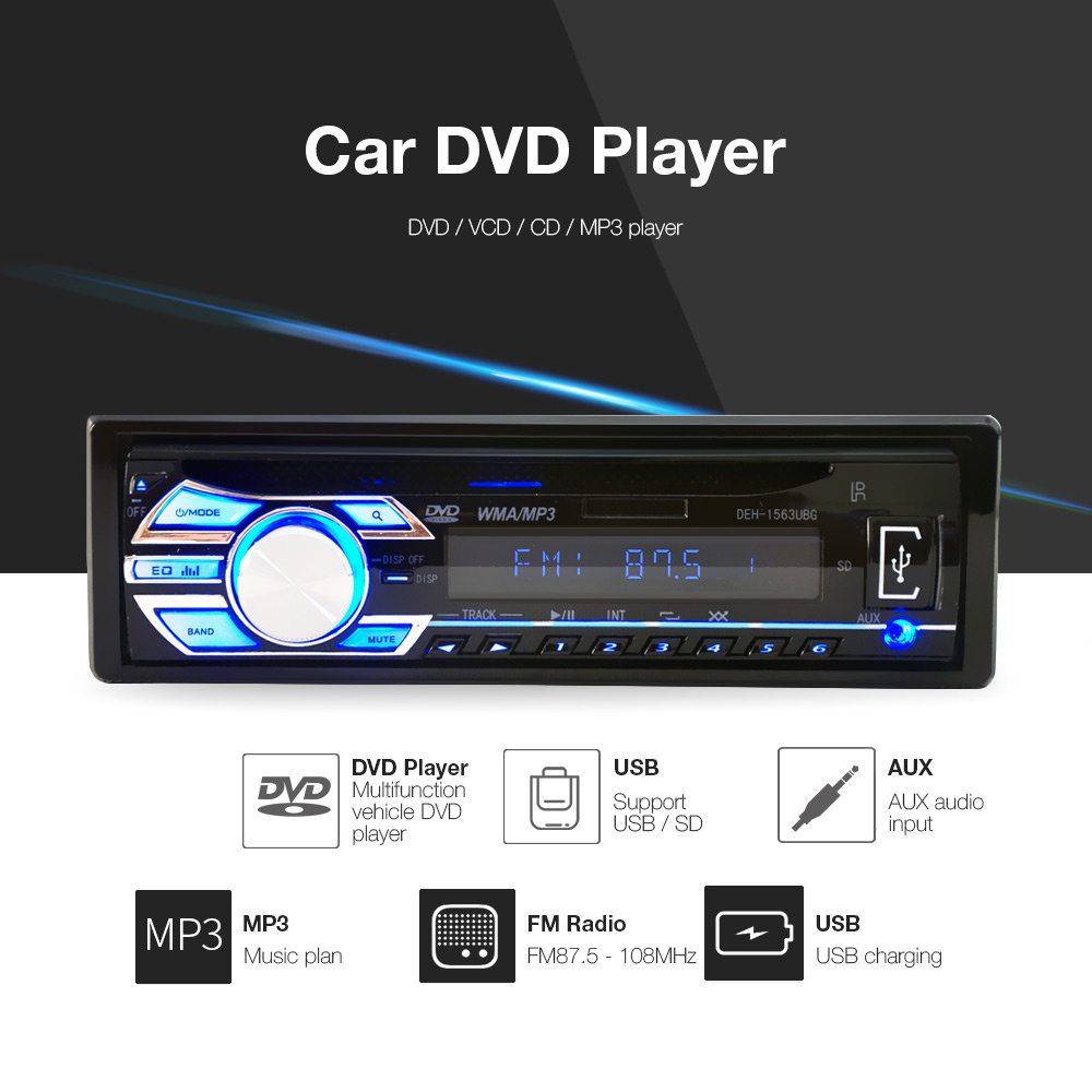 1563U 1-DIN 12V Car Radio Audio Stereo MP3 Players CD Player Support USB SD Mp3 Player AUX DVD VCD CD Player with Remote Control1563U 1-DIN 12V Car Radio Audio Stereo MP3 Players CD Player Support USB SD Mp3 Player AUX DVD VCD CD Player with Remote Control