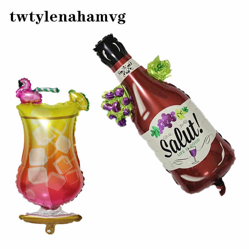 New Happy Birthday Party  red wine bottle foil Balloon wedding decoration Air Balloons grape cheers festival  holiday theme ball