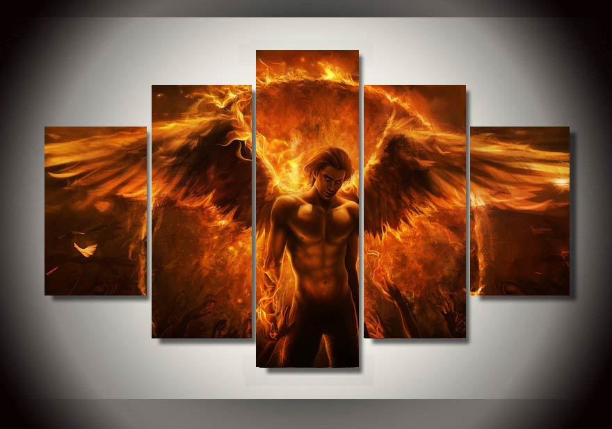 Home Decor Picture Black Magic Flame Angel Group Painting Room Decor Print Poster Picture Canvas Painting on the wall