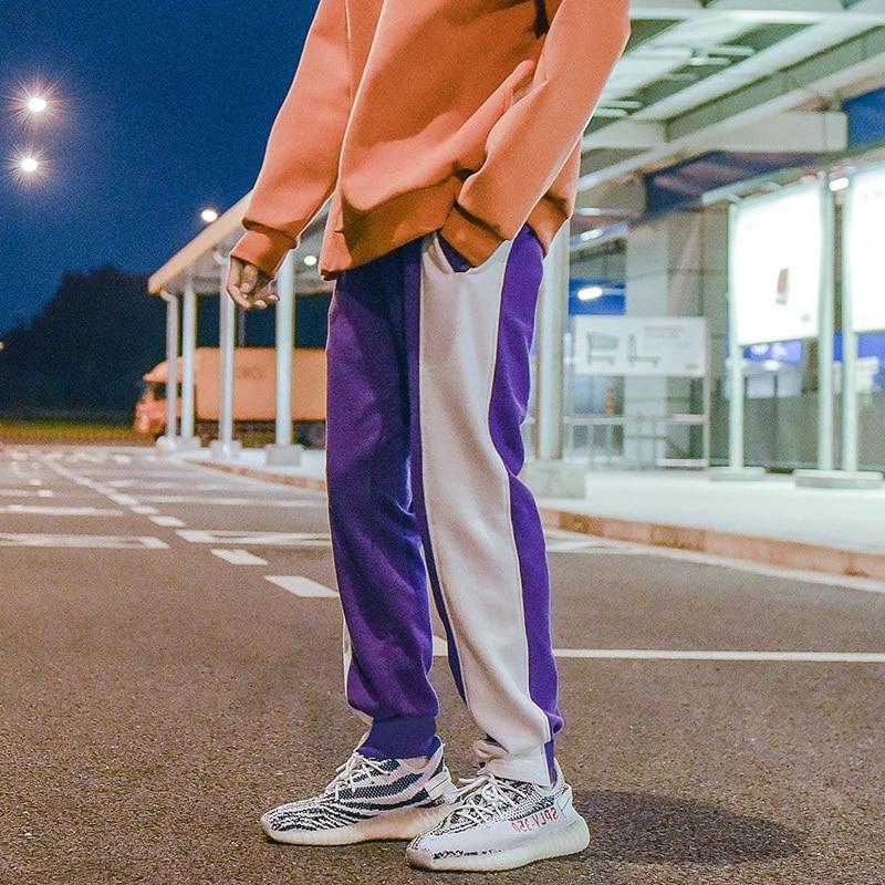 violet Couleur Taille Automne Lâche Coréen De Nouveaux Mouvement Élastique 2018 Côté Noir Bande Hommes 2xl violet Marée Black Pantalon Mode Casual M q1pxa