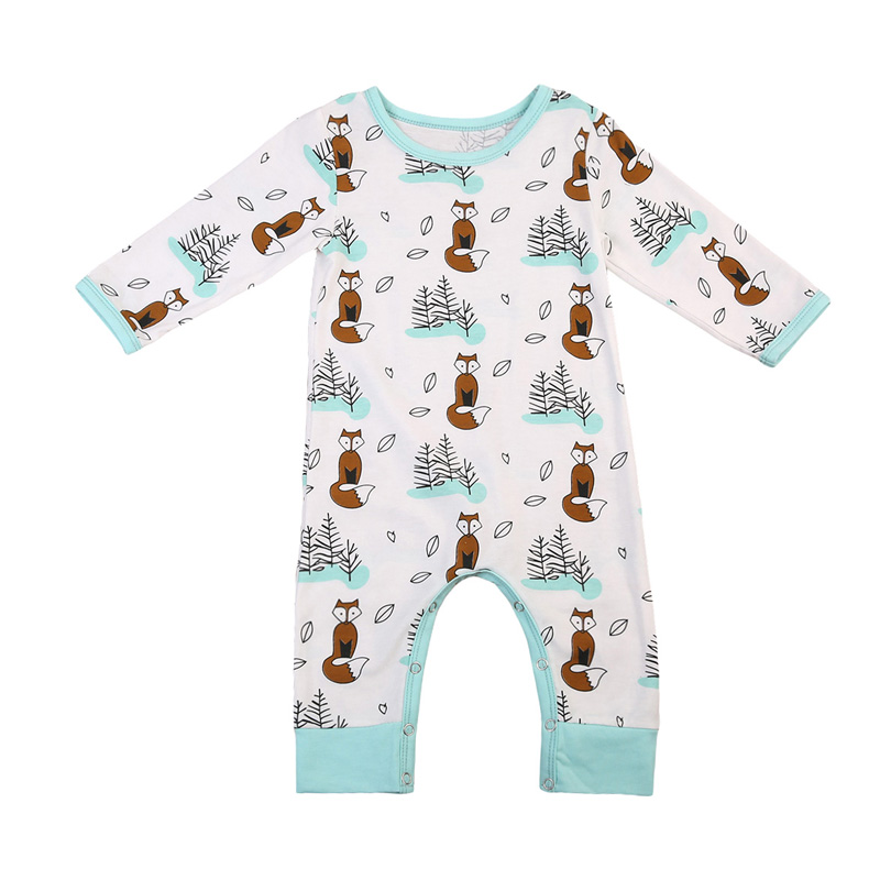 Cute Newborn Baby Boy Girl Fox Romper 2017 Autumn Long Sleeve Cotton Clothes Toddler Kids Jumpsuit Playsuit Outfits 0-24M newborn cute toddler floral baby girl rompers infant cotton long sleeve kids jumpsuit overall romper hat children clothes sets