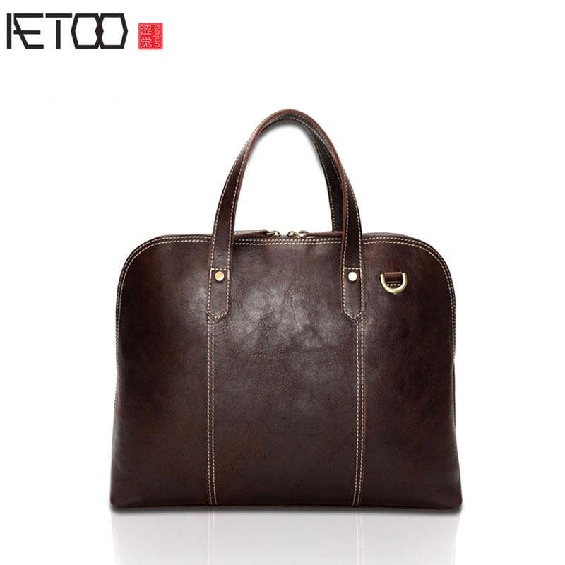 AETOO Men 's Leather Briefcase Oil Purple Leather Men' s Bag Shoulder Messenger aetoo men s portable briefcase leather casual business men bag korean version of shoulder messenger bag