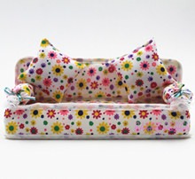 BD Doll Accessories Cute Dollhouse Furniture Flower Cloth Sofa Couch With 2 Cushions For Barbie Doll