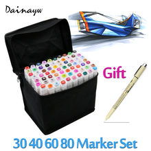 Touchfive 30/40/60/80 Farben Art Marker Set Fettige Alkoholische Dual Headed Künstler Skizze Copic Marker stift Für Animation Manga Design