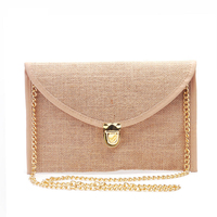 Wholesale Retail Jute Clutch Bag With A Long Chains Bridesmaid Gifts Crossbody Bag For Women In