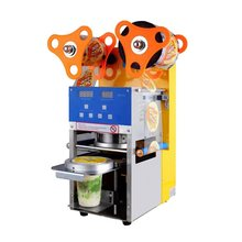 New Automatic Electric Counting Cup Sealing Machine , Quality Cup Sealer 95/75mm Cups Diameter