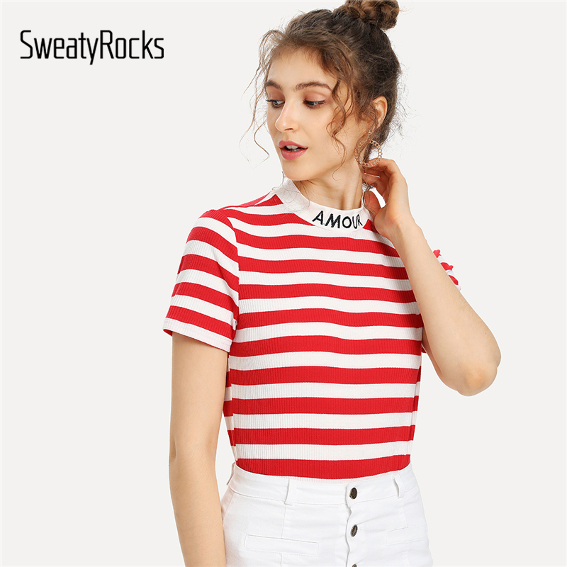 SweatyRocks Embroidered Mock Neck Striped Ribbed   T  -  shirt   2018 Summer Short Sleeve Stand Collar Top Girl Red Slim Casual Clothing